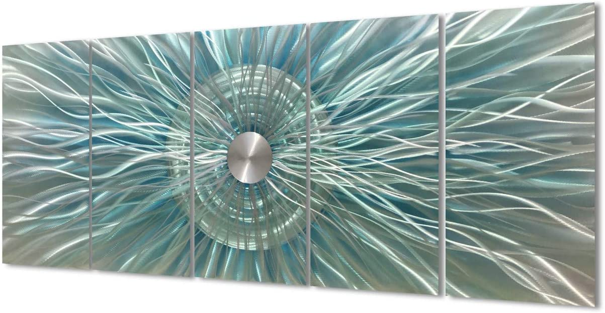 Aqua and Gray Sculpture Decor Large 3d Modern Metal Wall Art Abstract Geometric Artwork for Living Room Bedroom