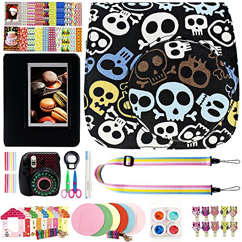 Elvam 12 in 1 Camera Accessory Bundles Set for Fujifilm Instax Mini 8 – Black Skull (Mini 8 Case/Camera Strap/Album/Film Frames/Stickers/Border Stickers/Lens/Filter/Owl Clip/Pens/Scissors)