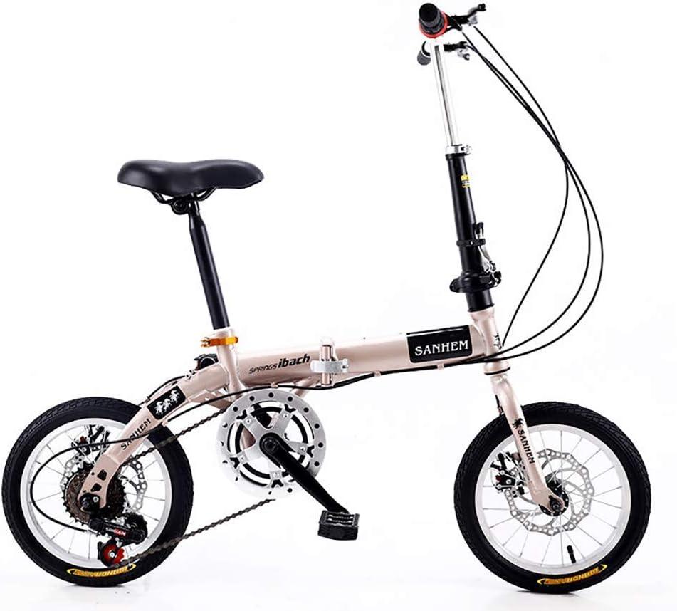 DSHUJC 14 Pulgadas Plegable Mini Ultraligero portátil Adultos niños Estudiantes Hombres y Mujeres Rueda pequeña Velocidad Variable Doble Freno de Disco Bicicleta