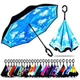 Best Umbrella - Double Layer, Folding, Reverse, Inverted & Windproof, Self Stand Upside-down Rain Protection Car Reverse Umbrellas with C-shaped Handle and Carrying Bag (Sky)