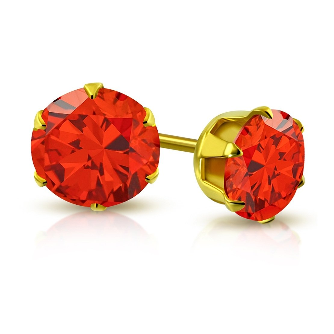 pair Stainless Steel Gold Color Plated Prong-Set Round Circle Stud Earrings with Orange Hyacinth CZ