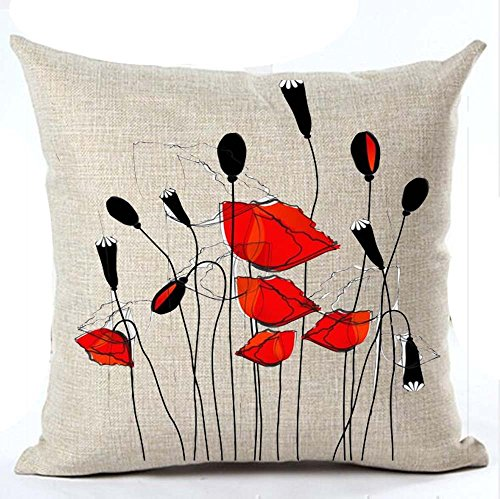 (Beautiful Charming Watercolor Oil Painting Red Poppy Sweetheart Cotton Linen Throw Pillow Case Cushion Cover New Home Office Indoor Decorative Square 18 X 18 Inches)