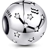 NINGAN - Abalorio de Plata de Ley 925 con diseño de Signo del Zodiaco para Pulseras y Collares Pandora, Chamilia y…