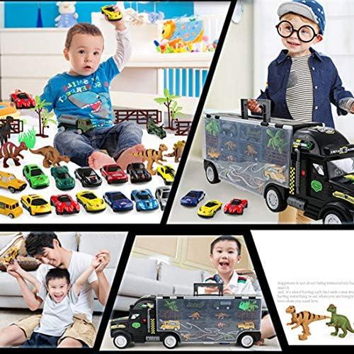 Camion Transporteur de Voitures, GODNECE Lot de 28 Dinosaure Camion Enfant Voiture avec Dinosaures et Mini Voiture pour Cadeau Enfant 3 Ans Fille Garcon