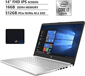 "HP 2020 Business Laptop, 14"" Full HD Screen, 10th Gen Intel Core i7-1065G7 Processor up to 3.9GHz, 16GB DDR4 RAM, 512GB PCIe SSD, WiFi, Bluetooth, Type-C, HDMI, Win 10 Home, Silver, KKE Mousepad"