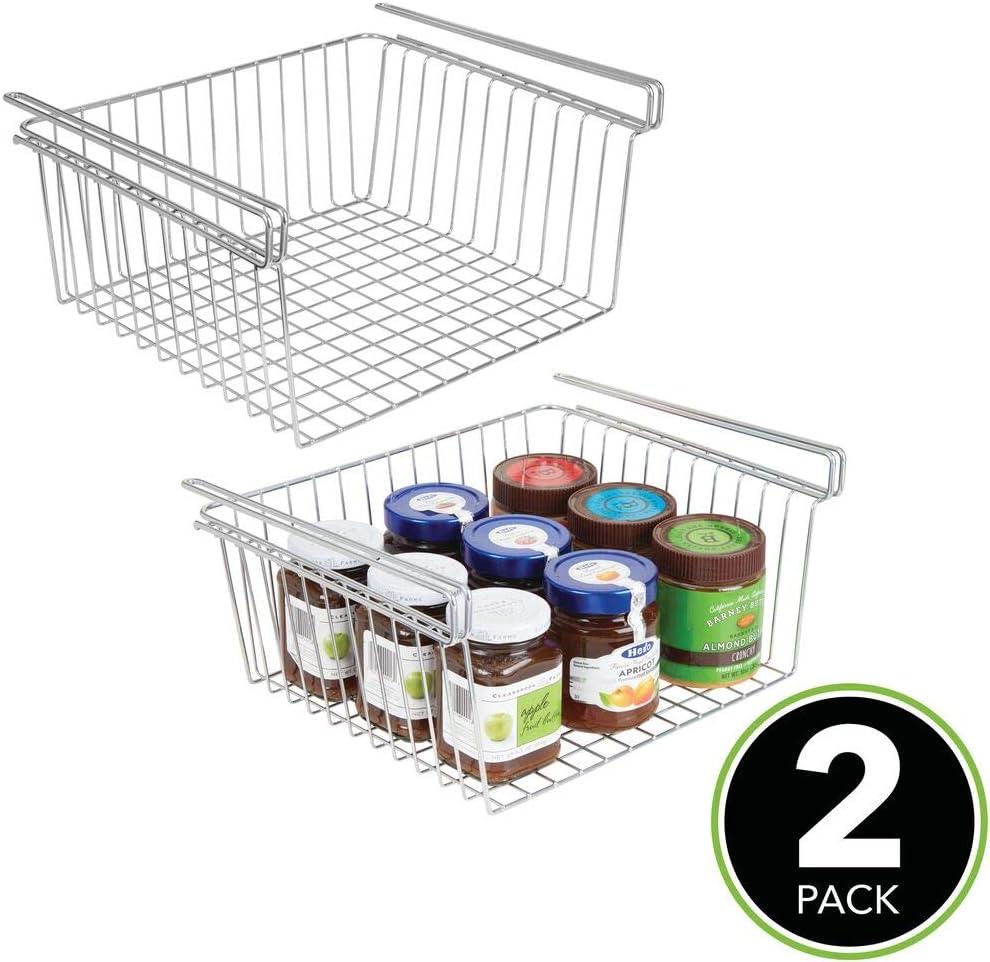 Cestas met/álicas para cocina y despensa plateado mDesign Juego de 2 estantes de cocina colgantes de metal resistente Robusta cesta colgante para alimentos y utensilios de cocina