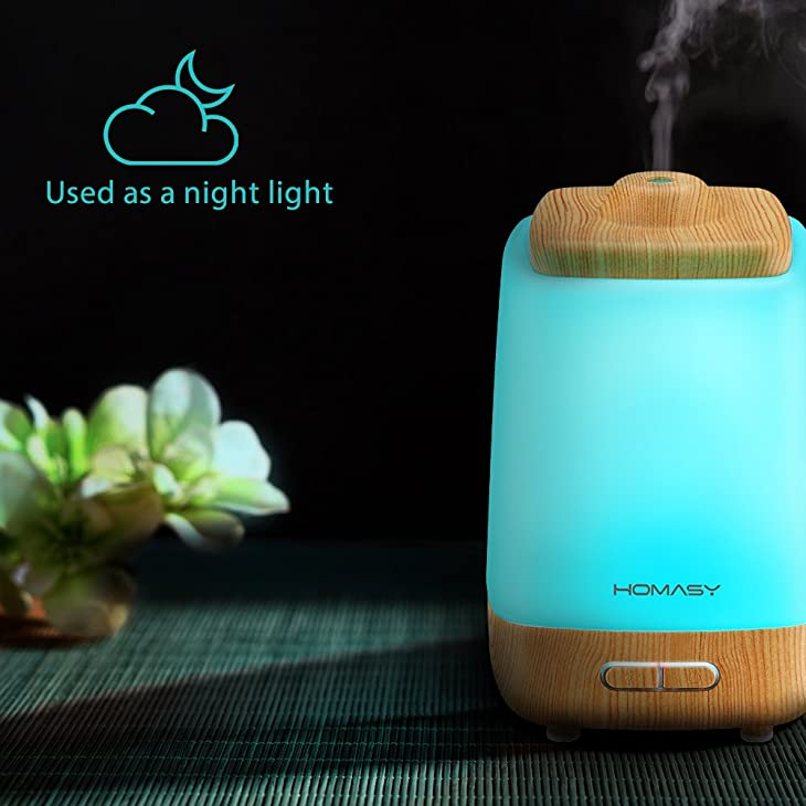 Homasy 200ml Aroma Essential Oil Diffuser, Wood Grain, Night Light with 7 Color LED Changing for Yoga Spa Home Office Room