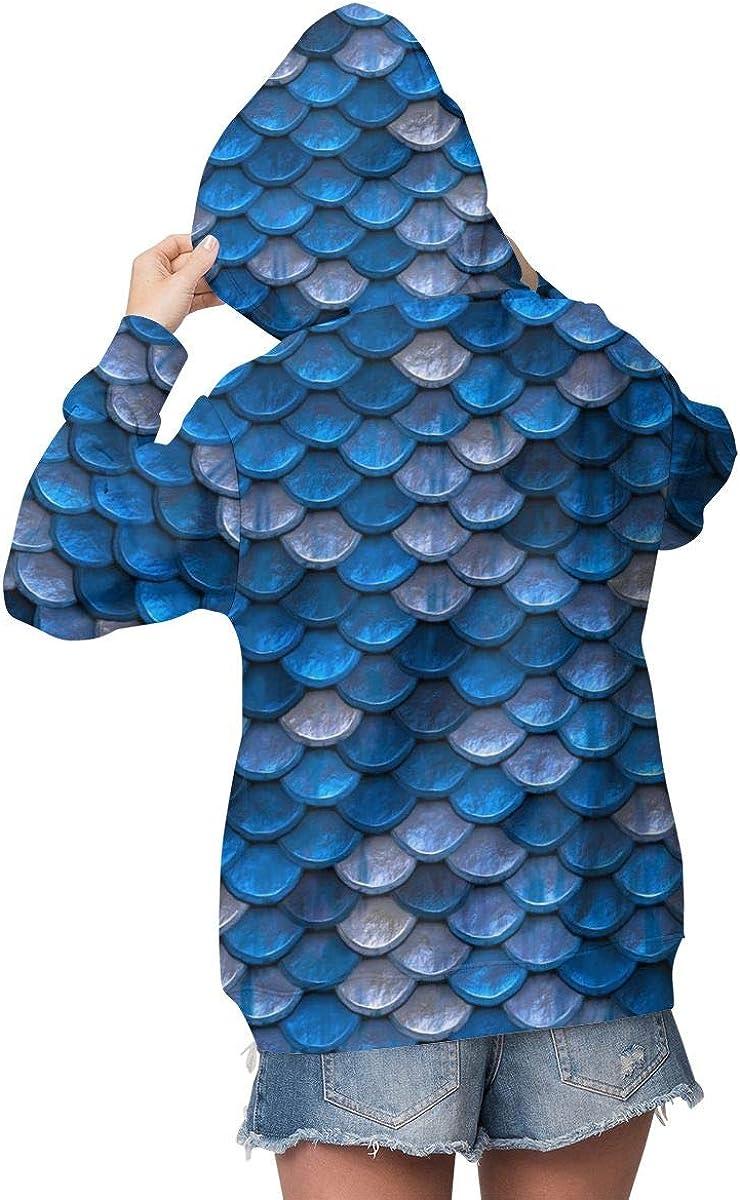 Blue Color Pastel Mermaid Womens Long Sleeve Pullover Hooded Sweatshirt Top Hoodie with Fleece Lining