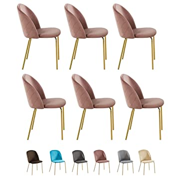 Pleasant Set Of 6 Velvet Dining Chairs With Golden Finish Metal Legs Living Room Chair Dale Pink Dailytribune Chair Design For Home Dailytribuneorg