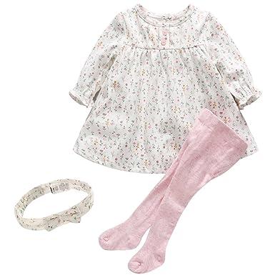 1135a4b3e2516 Bébé Filles 2pcs Ensembles Floral Robe T-shirt Longues Manches   Collants  Leggings Enfant Tenues