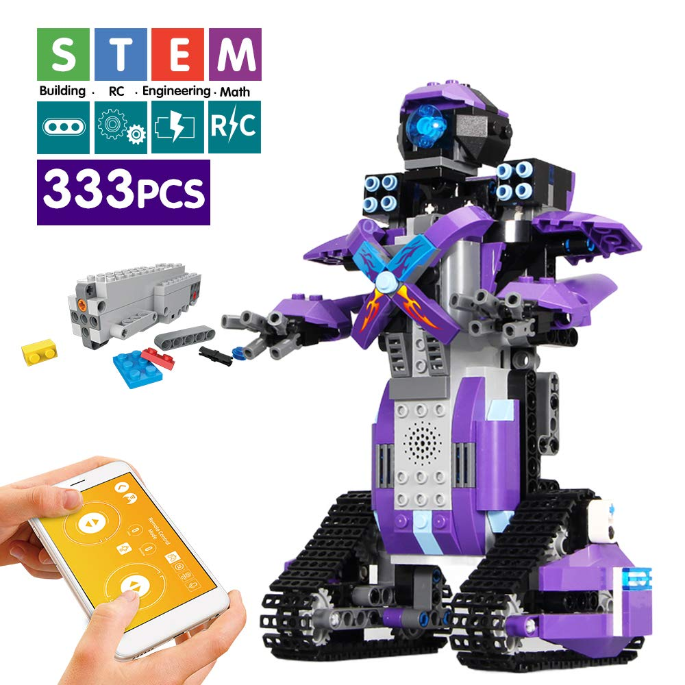 Mould King Remote Control Building Block Robot Educational Electric RC Robot Bricks STEM Toys with LED Intelligent Charging Gift for Boys Girls Age of 6,7,8,9-14 Year Old (Purple) 61jW12cg81L