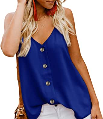 Angerella Mujer Button V-Neck Strappy Tops Loose Casual Sleeveless Shirt Blusas