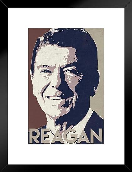 Amazon Com Poster Foundry President Ronald Reagan Pop Art Portrait Republican Politics Politician Potus Tan Matted Framed Art Print Wall Decor 20x26 Inch Posters Prints