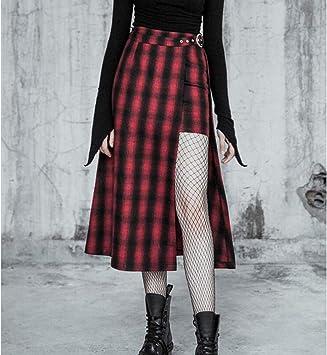 DAHDXD Otoño Harajuku Vintage Falda A Cuadros Rojo Moda Suelta ...