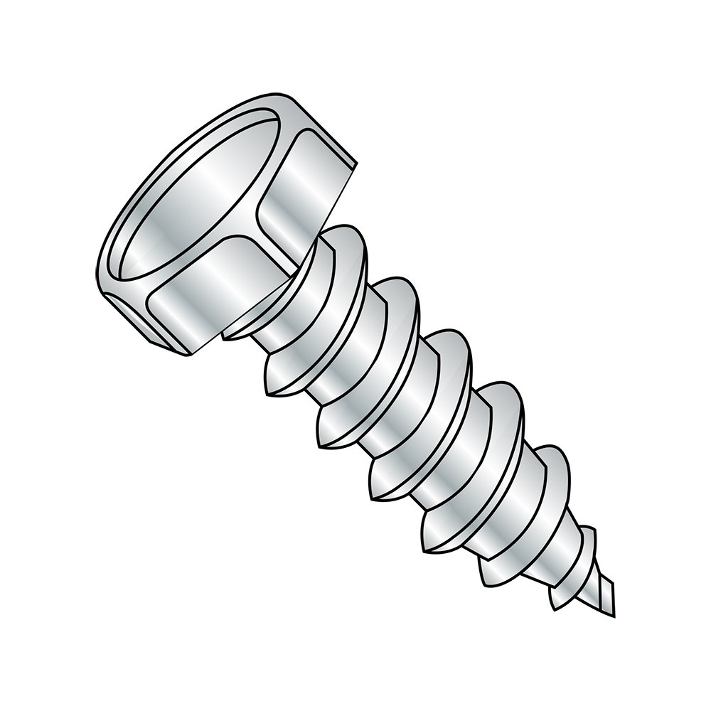 Steel Sheet Metal Screw Hex Washer Head Pack of 100 Slotted Drive 1-3//4 Length Zinc Plated #8-18 Thread Size Type AB