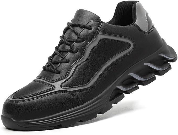 Detalles de Ligero para Hombre Puntera de Seguridad Botas Piel Trabajo Seguridad Zapatos