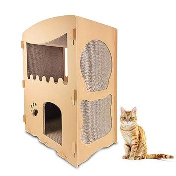 DJLOOKK Cato con Rascador Casa de Gato Corrugado Casa de Gato Grande Creativo Escalada Marco Gato Junta de rasguño Gato Juguete de la Garra,B: Amazon.es: ...