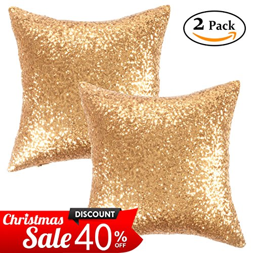 Kevin Textile Christmas Decorative Solid Sequins Throw Pillow Cover Sham New Year 45 x 45 cm Decor Pillow Case,Hidden Zipper Design,(Two Cover Packs,Gold) (Christmas Decorative)