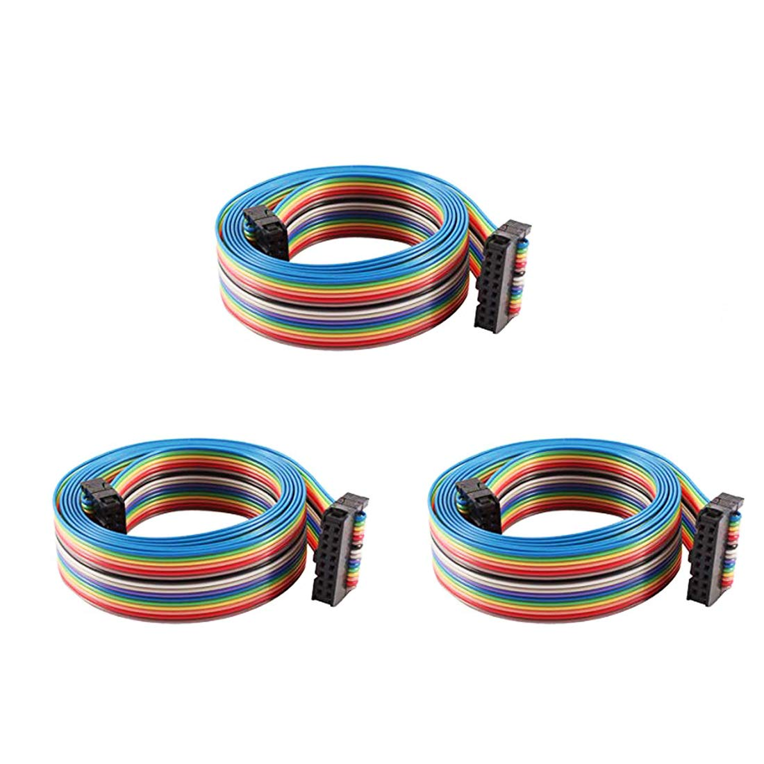 0.1Inch Pitch F//F Connector Yohii 3Pcs 7.1Inch IDC Cable 16 Pin IDC Flat Ribbon Cable