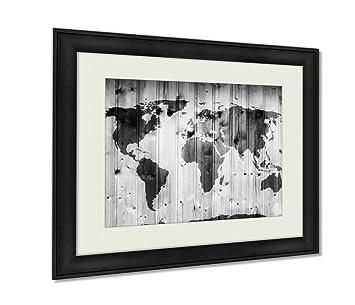 Amazon ashley framed prints world map on wooden wall retro ashley framed prints world map on wooden wall retro wood planks vintage wall art gumiabroncs Choice Image