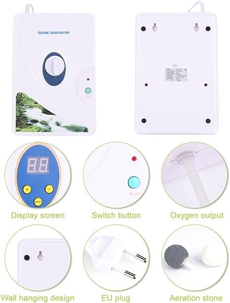 600 mg//h m/áquinas para frutas verduras carne Hydro agua dulce Generador de ozono digital Ozono temporizador digital port/átil m/áquina de desintoxicaci/ón