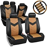 FH GROUP FH-PU021115 Synthetic Leather Full Set Auto Seat Covers w. Steering Wheel Cover & Seat Belt Pads, Tan Black Color - Fit Most Car, Truck, Suv, or Van