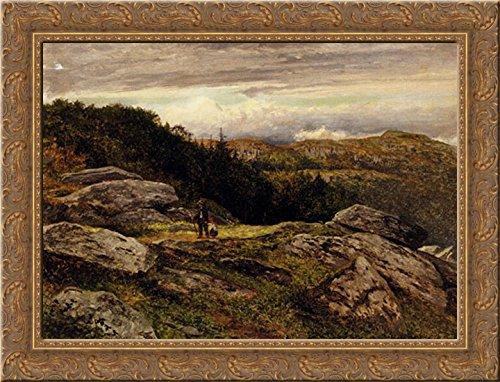 (A Welsh Hillside Path 24x20 Gold Ornate Wood Framed Canvas Art by Leader, Benjamin Williams )