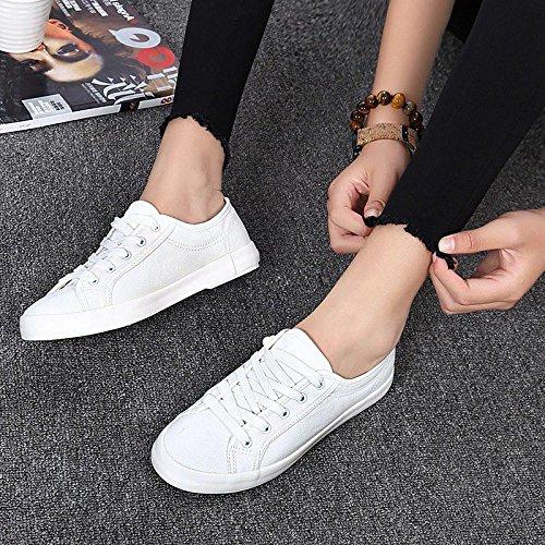 4abbdff9 En venta NGRDX&G Zapatos De Verano Zapatos De Lona Blanca Señoras Simple Plana  Encaje Casual Zapatos