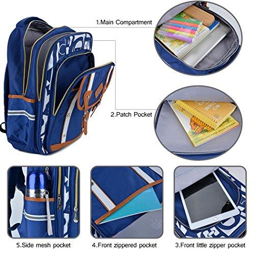 Backpack Kid,Bageek School Bags Backpacks for School Bookbag Rucksack Backpack Waterproof Backpack(blue) by Bageek (Image #4)