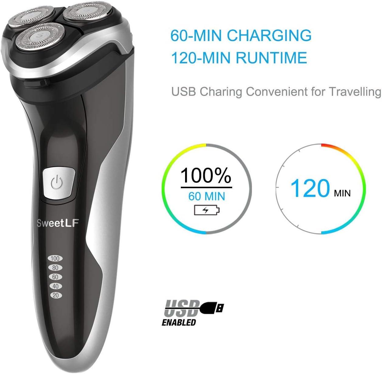 SweetLF - Afeitadora eléctrica para hombre, recargable, IPX7, impermeable, tecnología Wet&Dry con cabezal giratorio 3D y pantalla LCD, color negro: Amazon.es: Salud y cuidado personal