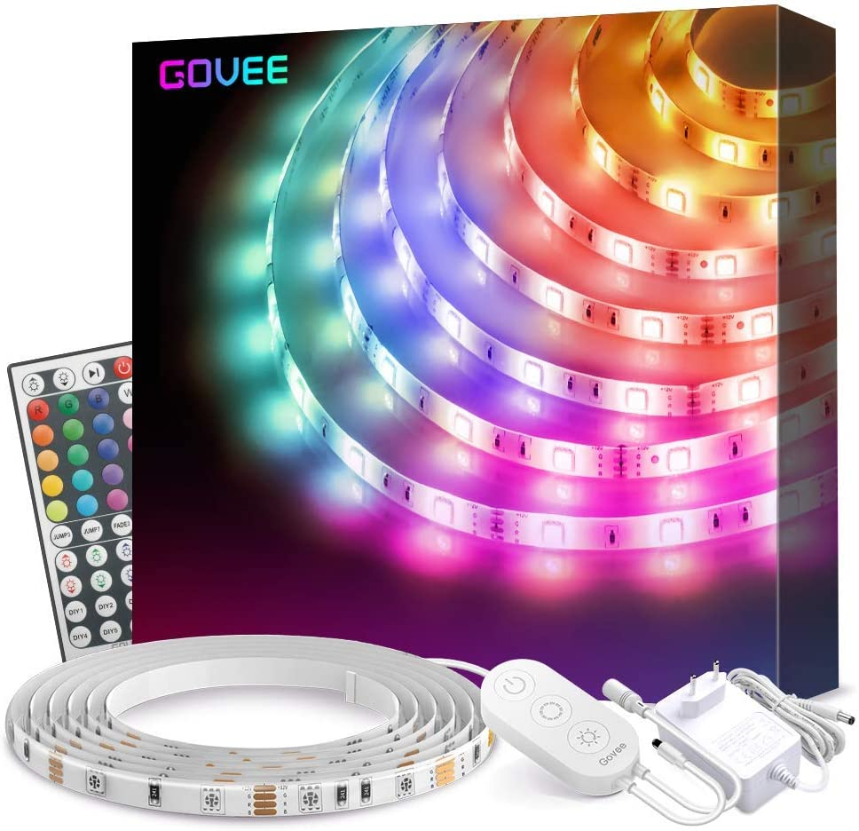 Govee Tiras LED 5m RGB Impermeable Mejorado Multicolor,Tiras de Luces LED 150 LEDs 5050 SMD, Control Remoto de 44 Botones 16 Colores, Tira LED para Habitación, el Dormitorio, Cocina, 12V 1.5A