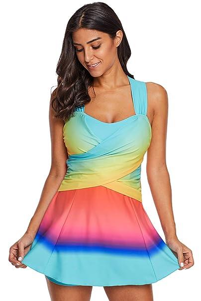 e5c18822c0178 ZQZA Tankini Two Piece Swimsuits Skirt for Women Tummy Control Bathing  Suits Plus Size Swimwear-