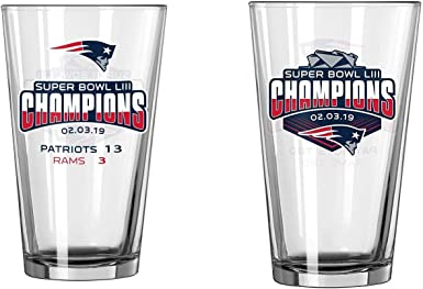 New England Patriots Super Bowl LIII 53 Champions Satin Etch 16 Ounce Pint Glass