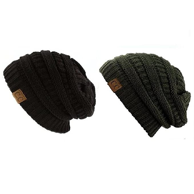 75029a4aaf638c C.C Trendy Warm Chunky Soft Stretch Cable Knit Slouchy Beanie Skully HAT20A  (One Size, 2 Pack Dark Olive/Black): Amazon.ca: Clothing & Accessories