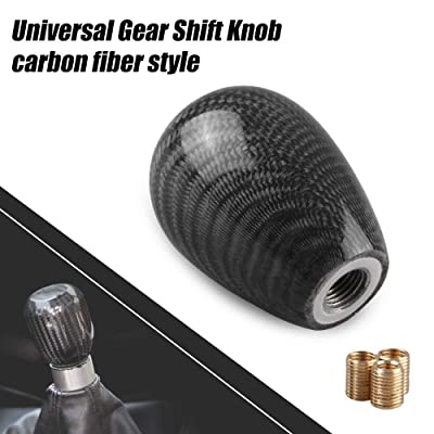 RYANSTAR Universal Shifter Knobs Adapters Stick Shifter Oval Ball Carbon Fiber for Honda, Mazda, Toyota and Other Popular Models Style Black: Automotive