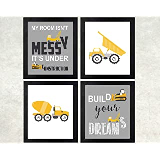 Construction Truck Themed Art Print Room Wall Decoration (Set or Four)