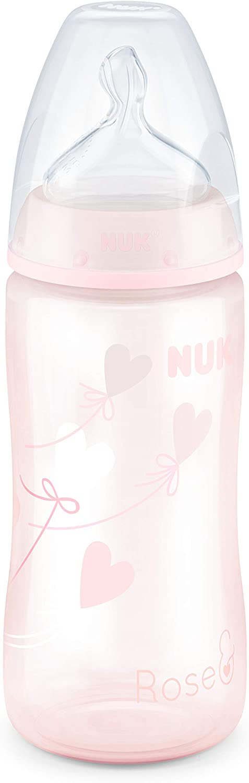 300 ml Biber/ón para beb/és de 0 a 6 meses tetina de silicona sin BPA color rosa 1 unidad con control de temperatura v/álvula antic/ólicos NUK First Choice+