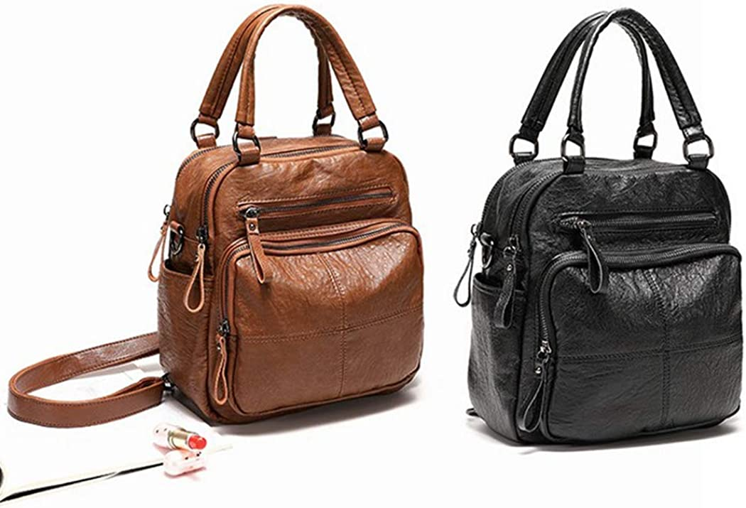 COOFIT Womens Shoulder Bag Vintage Multi-use School Backpack Crossbody Bag Satchel Bag with Zipper