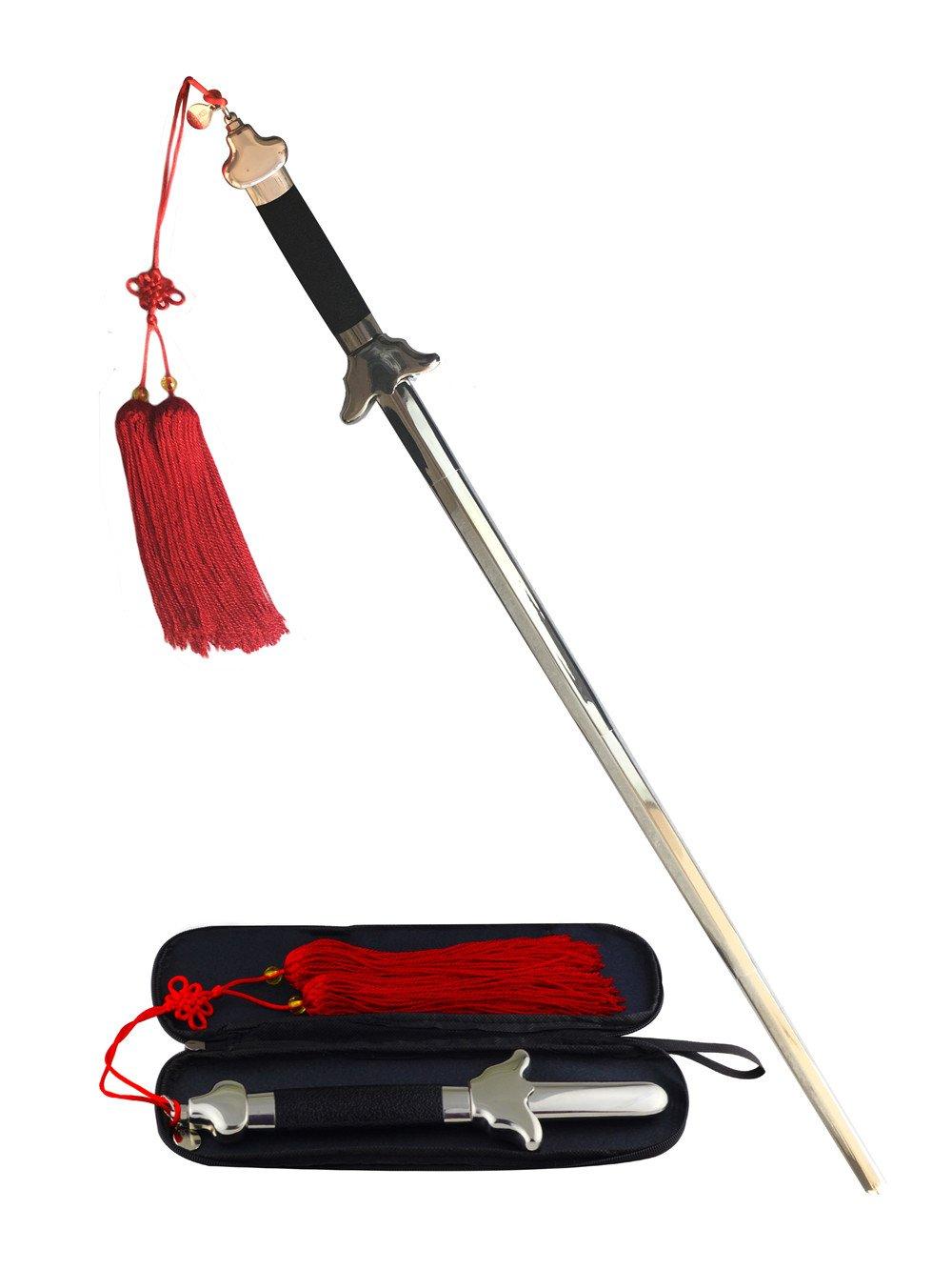Dokreil cinese allungabile bastone da allenamento/Tai Chi Kung Fu performance con borsa da trasporto e nappa, Uomo, Silver Dekerui