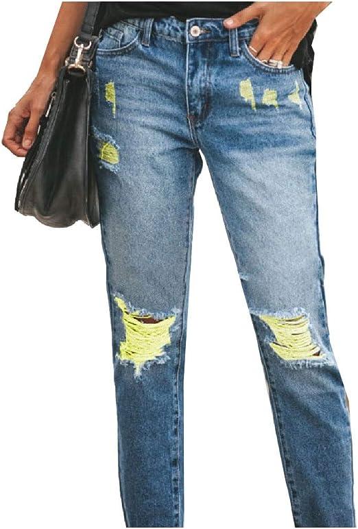 sayahe Womens Hole Washed Casual Weekend Middle Waist Denim Pants with Pockets