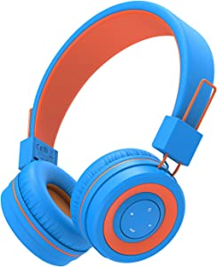 iClever BTH02 Kids Headphones, Kids Wireless Headphones with MIC, 22H Playtime, Bluetooth 5.0 & Stereo Sound, Foldable, Adjustable Headband, Childrens Headphones for iPad Tablet Home, Blue/Orange