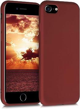 Image ofkwmobile Funda Compatible con Apple iPhone 7/8 / SE (2020) - Carcasa móvil de Silicona - Protector Trasero en Rojo metálico