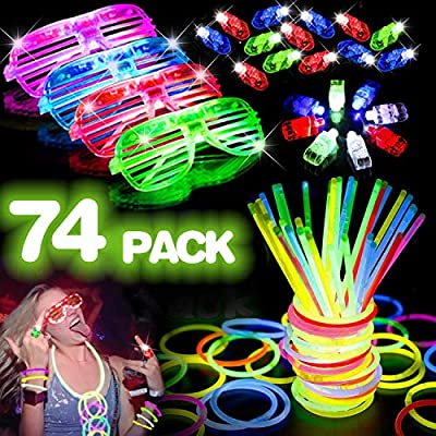 74 PACK Party Light Up Toy - Bulk Glow in the Dark Party Supplies Glow Stick Holiday Party Favors for Kids Adult [50 Glow Sticks Necklaces Bracelets+Flashing Glasses+Finger Light]: Toys & Games