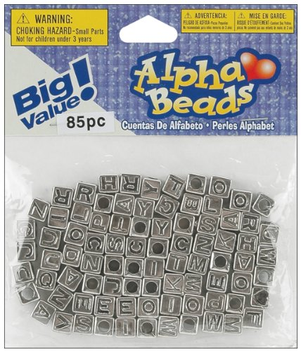 Darice Silver Kit Bead - Darice 85-Piece Big Value Alpha Beads, 6mm, Silver with Black letters