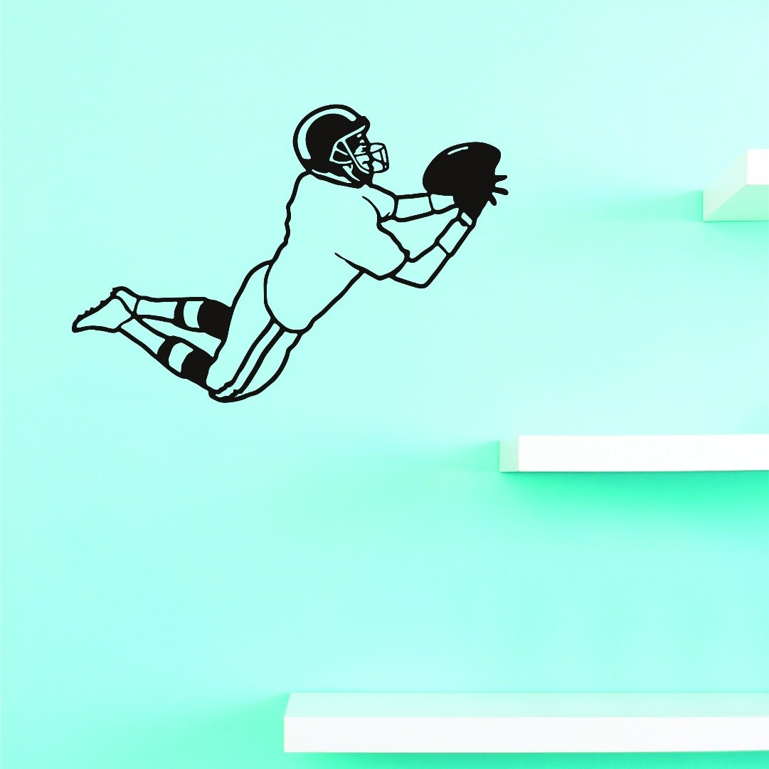 Black Design with Vinyl JER 246 3 Football Player Catching Pass Sports Boy Teen Vinyl Wall Decal Sticker 20 x 30