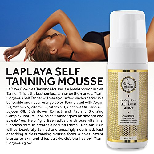 Miami Gorgeous Self Tanning Mousse LaPlaya Glow Instant Self Tanner Bronzing Mousse to Tan Skin Organic Ingredients Best Natural Self Tanner Satisfaction Guarantee 4.2 oz