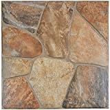 SomerTile FAZ18LYC Leon Ceramic Floor and Wall Tile, 17.75'' x 17.75'', Brown/Tan/Red