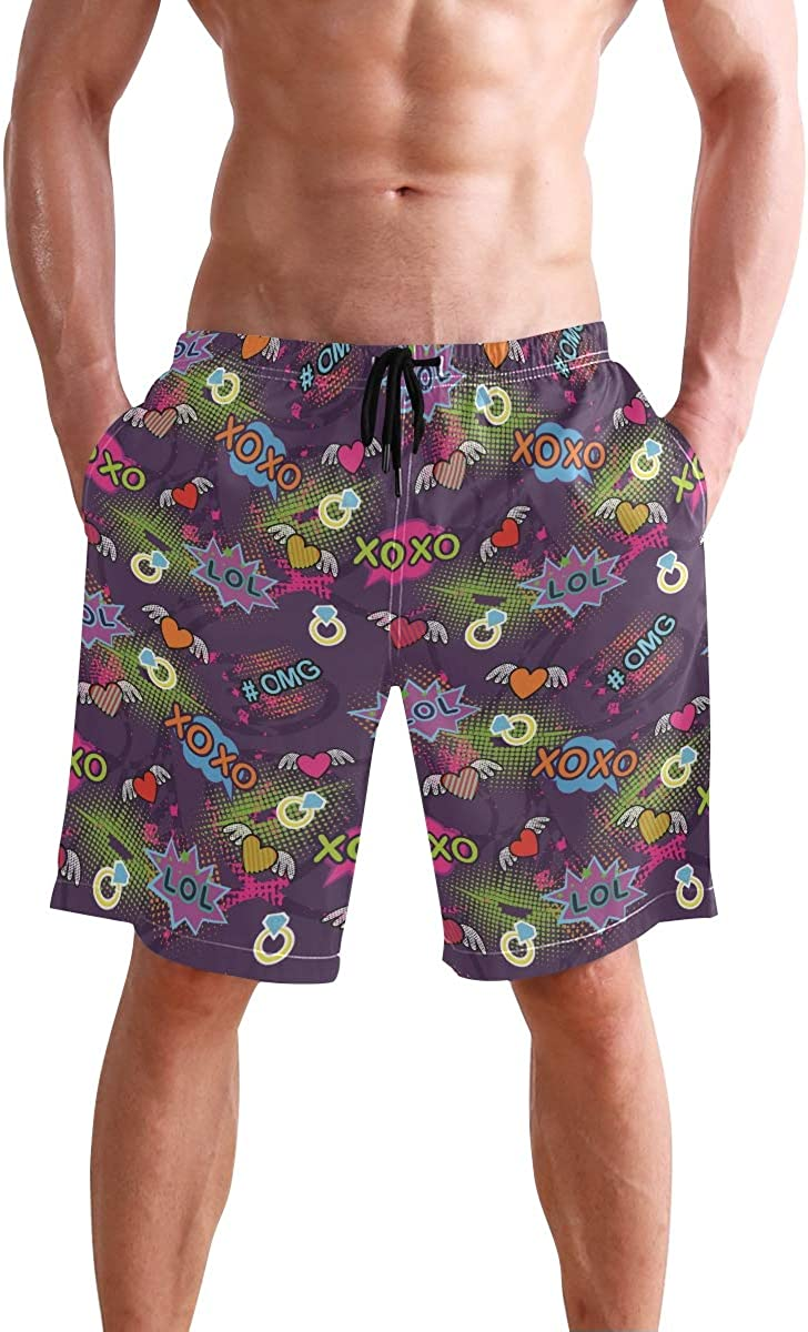 Purple Lips Mens Board Shorts Swim Mesh Lining and Side Pocket