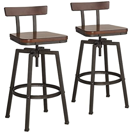 Amazoncom Roark Dark Bronze Adjustable Swivel Bar Stools Set Of 2