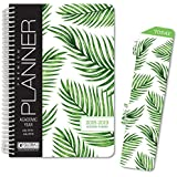 "HARDCOVER Academic Year Planner 2018-2019 - 5.5""x8"" Daily Planner/Weekly Planner/Monthly Planner/Yearly Agenda. Bonus Bookmark (Palm Tree)"